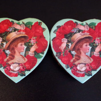 Decoupaged Heart Shaped Box- Victorian Pattern Gift Container- Annie Lillemoe Designed Storage Box- Roses & Hands Holding Flowers