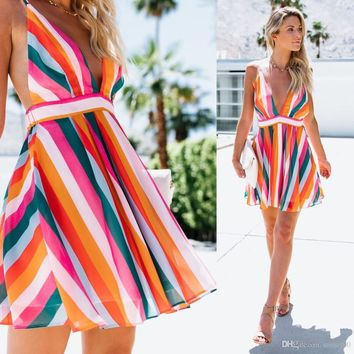 Sexy girls colorful striped sling halter dress V neck party evening date ladies A-line dress for vocation