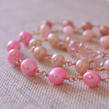 Pink Pearl Necklace, Rose Gold Filled, Genuine Freshwater Pearls, Pink Topaz Jewelry, Cherry Quartz, Free Shipping