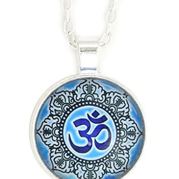 Om Mandala Necklace Silver Tone Aum NR74 Hindu Buddhist Yoga Art Blue Print Pendant Fashion Jewelry