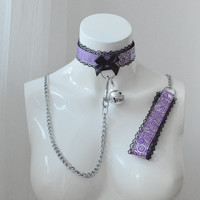 Kitten play collar and leash - Night swirl - ddlg cute little princess bdsm proof choker with chain lead and big bell - black and violet