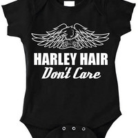 Black & White Harley Hair Don't Care Harley Davidson eagle graphic art baby girl boy bodysuit clothes Onesuit bike moto ride biker babe