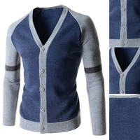 Color Block Ribbed Trim Button Down Knit Cardigan