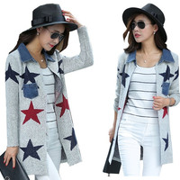 women's Thin cardigan  knit sweater  jacket (Color: Grey) = 1956991812