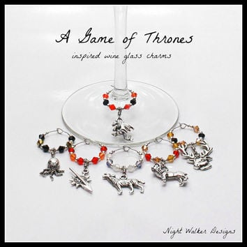 A Game of Thrones Inspired Wine Glass Charms - Set of 6 - Create A Unique Set With Your Choice of 20 Charm Options - A Song of Ice and Fire