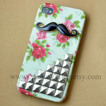 Black Mustache Iphone 4s Case, Iphone 4 case, Flower Iphone Case with silver studs, Studded flower iphone 4 4s case