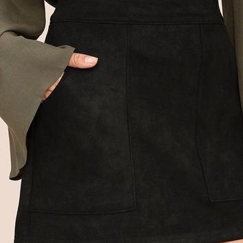 Suede Perfect Skirt -Black