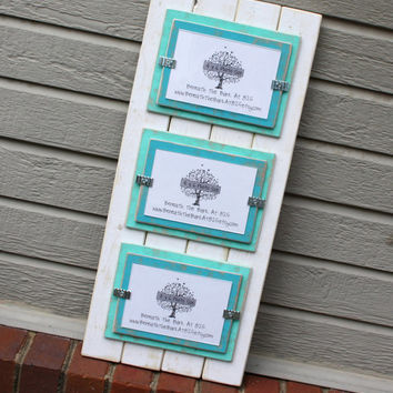 Triple 4x6 Picture Frame - Distressed Wood - White with Seafoam Green & Aqua Mats