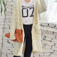 Solid Color Fashio All-match Knit Cardigan Long Sleeve Sweater Coat