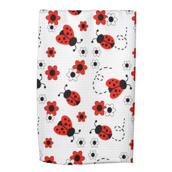 Red Ladybug Lady Bug Floral White Spring Flowers Hand Towels
