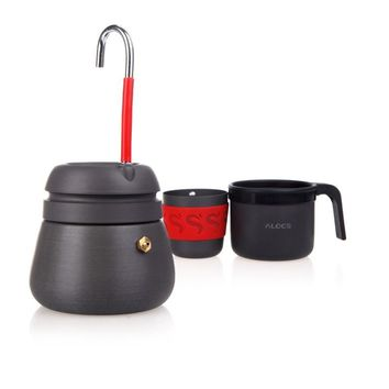 Outdoor Appliances Anodized Aluminum Portable 350ml Camping Hiking Coffee Maker Pot with 2 Cups Coff