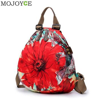 Chinese Style Women Casual Flower Print Backpack Adjustable Zipper Shoulder Vertical SquareTravel Small Backpack for Young Girls