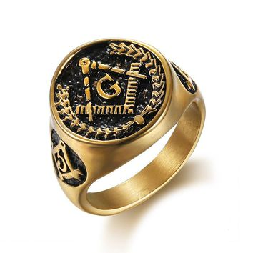 AG Masonic Gold Color Ring Men Punk Rock Hip Hop Biker Band Male Rings Titanium Stainless Steel Vintage Jewelry Classic DCR051
