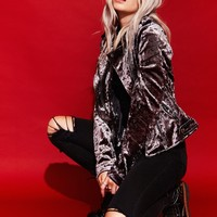 Silver Train Crushed Velvet Moto Biker Jacket