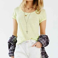 Monrow Cropped Fashion Tee- Yellow