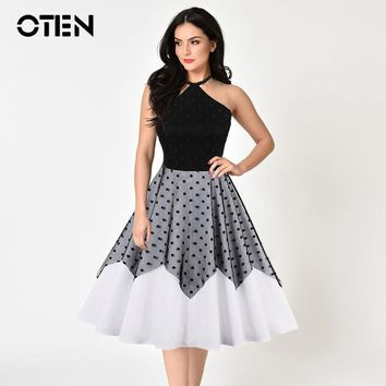 OTEN Plus size Women Clothing woman summer 2018 Hlater Polka Dot Mesh Lace Backless vintage dresses 50s 60s retro party dresses