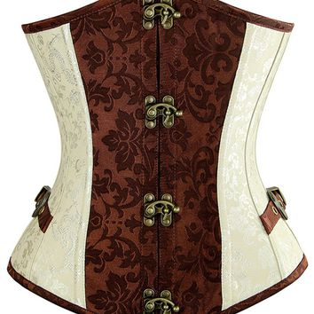 Atomic Two Toned Brocade Steampunk Steel Boned Underbust Corset