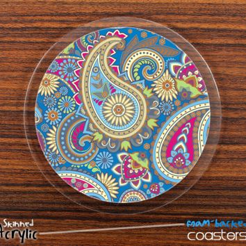 The Subtle Blue and Gold Paisley Pattern Skinned Foam-Backed Coaster Set