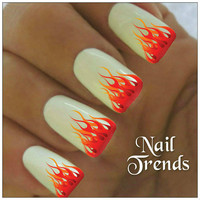 Flames Nail Decal. 20 Vinyl Stickers Nail Art