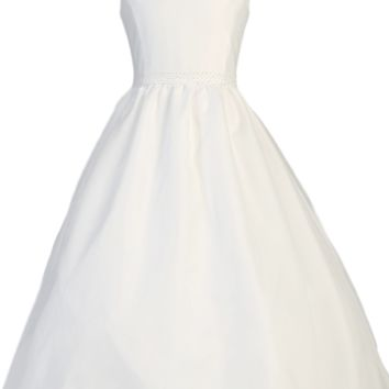 Cowl Neckline & V Back Collar Organza Overlay First Holy Communion Dress (Girls Sizes 7 to 14)