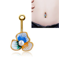 New Charming Dangle Crystal Navel Belly Ring Bling Barbell Button Ring Piercing Body Jewelry = 4661634692