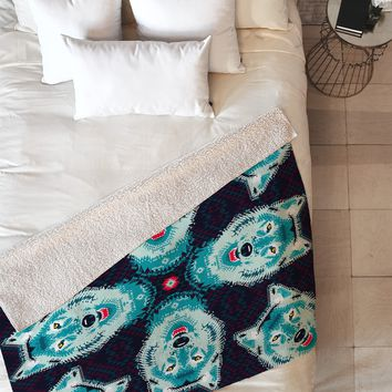 Chobopop Geometric Wolf Fleece Throw Blanket