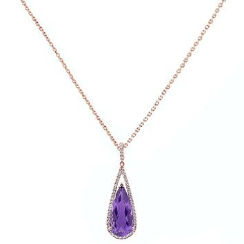 7.51tcw Pear Amethyst with Diamonds in 10K Rose Gold Dangle Drop Pendant Necklace 18""