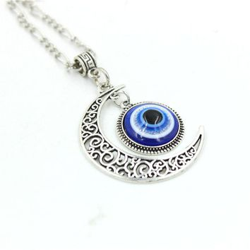 Floret Jewelry 12pcs/lot Turkish Evil Eye Necklaces For Men Blue Eye Moon Necklace Pendant Necklace Charm Necklace