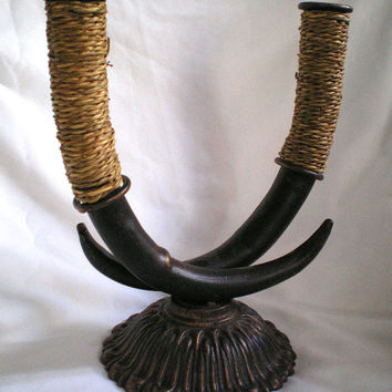 Cast Iron, Metal Horns Candle Stick Holder with Natural Twine Wrapped Cord, Centerpiece Decor, Home Decor, Candelabra, Horn, Vintage