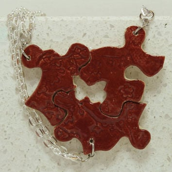Puzzle Piece Interlocking Necklaces Red Friendship pendants set of 3 Piece Aromatherapy pendant set