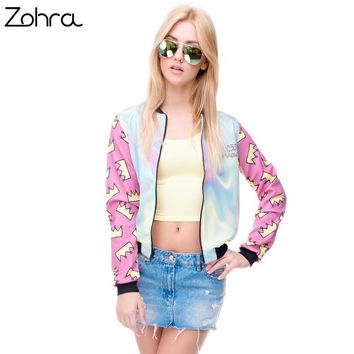 Zohra Hot sale Brand Women Bomber Jacket 3D Printed Princess Crown Outwear Coats University College chaquetas Basic Jackets