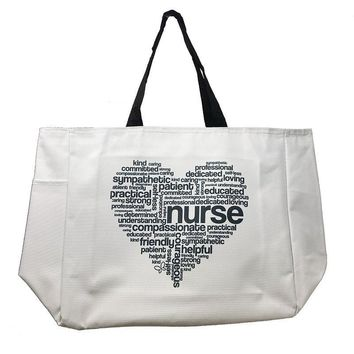 Tote Bag White Printed Nurse Heart Kind Caring Canvas Feel Cutieful