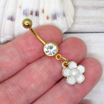 White cute pearl flower belly boutton rings, flower belly button ring , flower belly ring ,belly button piercing,unique gift