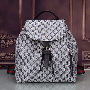 GUCCI Woman Men Fashion Leather Backpack Travel Bookbag Shoulder Bag