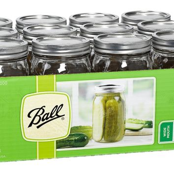 Ball® 67000 Wide Mouth Mason Jars with Lids & Bands, 1 Qt, 12-Pack