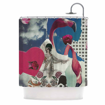 "Jina Ninjjaga ""Flamingo Attack"" Pop Art Shower Curtain"