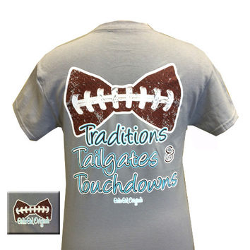 Girlie Girl Originals Tailgates, Traditions and Touchdowns Bow Football Bright T Shirt