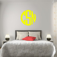 The Solid Yellow Circle Monogram V1 Wall Decal