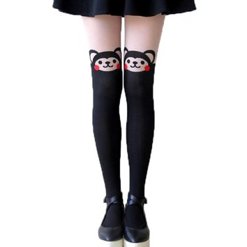 Adorable Monkey Bear Print Mock Thigh High Pantyhose Tights in Black | DOTOLY