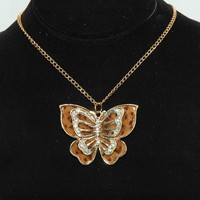 Brown Butterfly Necklace - Rhinestone Butterfly Necklace - Gift | Luulla