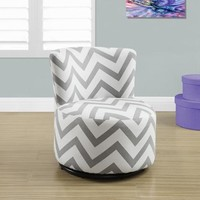 Juvenile Grey Swivel Chevron Fabric Chair