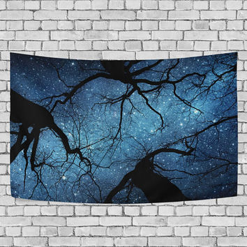 Night Sky Starry Night Tapestry Wall Hanging Milky Way Galaxy  Tree Wall Decor Art for Living Room Bedroom Dorm