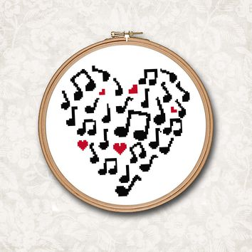 Musical Note Silhoutte Heart Cross Stitch Pattern