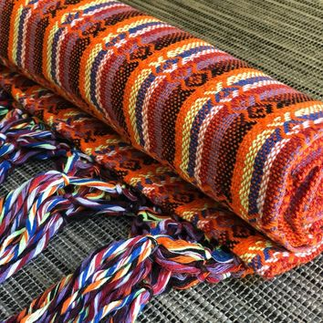 Mexican Rebozo Shawl - Orange Rainbow