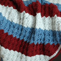 Crocheted Baby Infant Newborn Blanket C2C Striped Warm Soft and Light