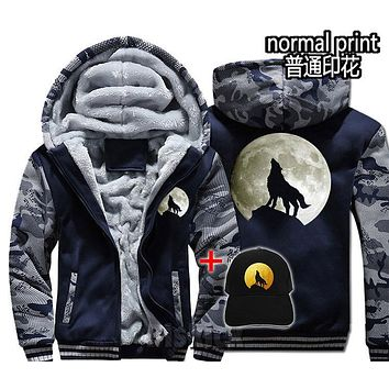 Fashion Men women Warm Thick Coat Jacket  winter warm wolf moon glow in the dark concert Street velvet Sweatshirt  top Hoodies