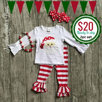 Girls 3pc Christmas Outfit, Girls Santa Top & Red Stripe Leggings Szs: 2 - 8