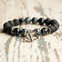 anchor bracelet mens beaded bracelets gemstone beads christmas gift idea for boyfriend anchor charm nautical pirate jewellery black lava