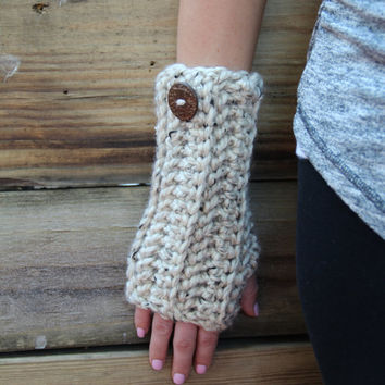 Arm Warmers Fingerless Gloves Oatmeal Long Chunky Mittens Crochet Women's Accessories Gifts