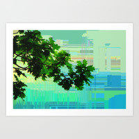 Oak Branch with abstract background Art Print by LoRo  Art & Pictures